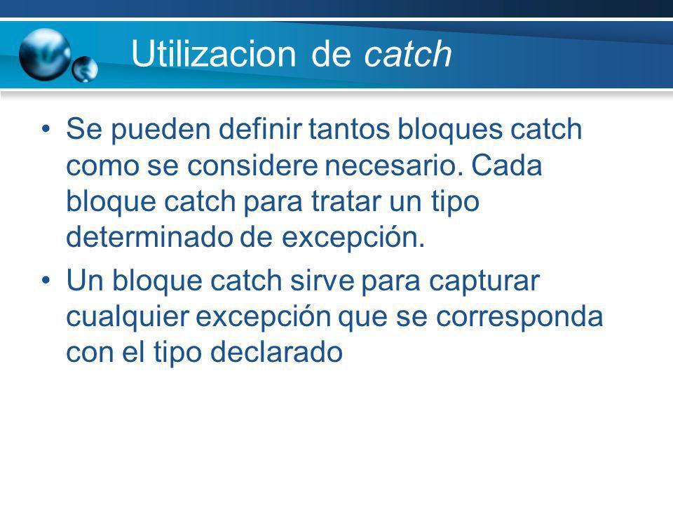 Utilizacion de catch