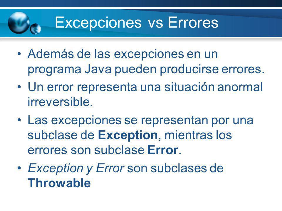 Excepciones vs Errores