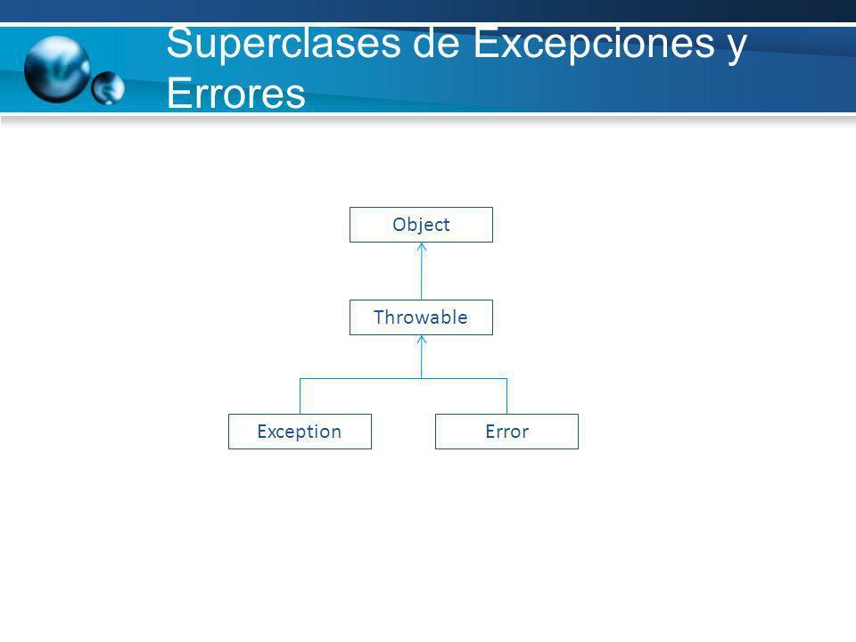 Superclases de Excepciones y Errores