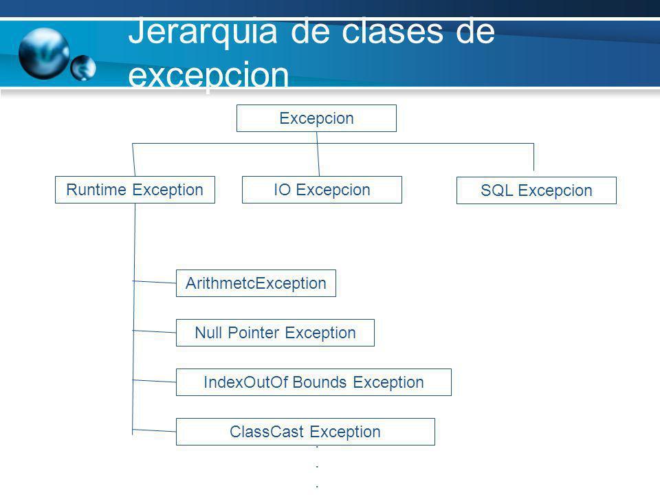 Jerarquia de clases de excepcion