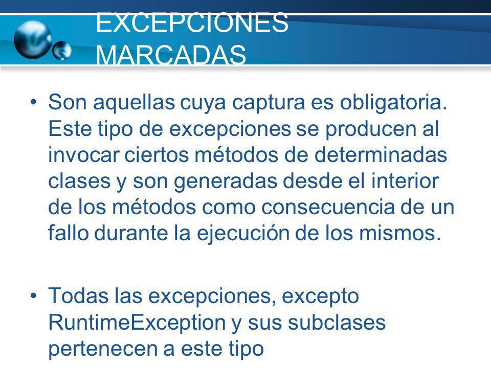 EXCEPCIONES MARCADAS
