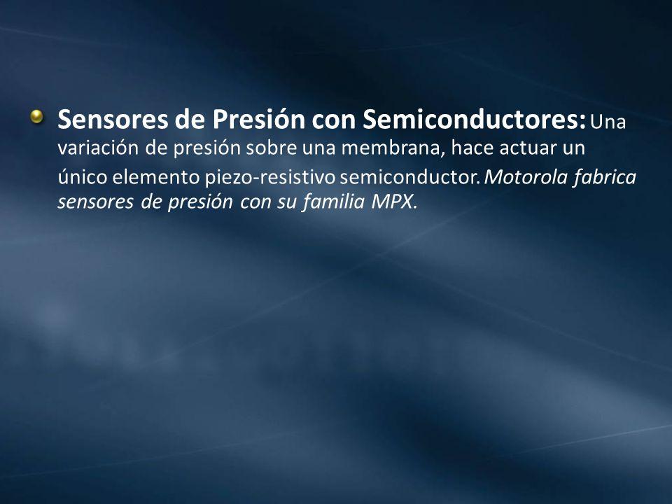 Sensores de Presión con Semiconductores: Una variación de presión sobre una membrana, hace actuar un