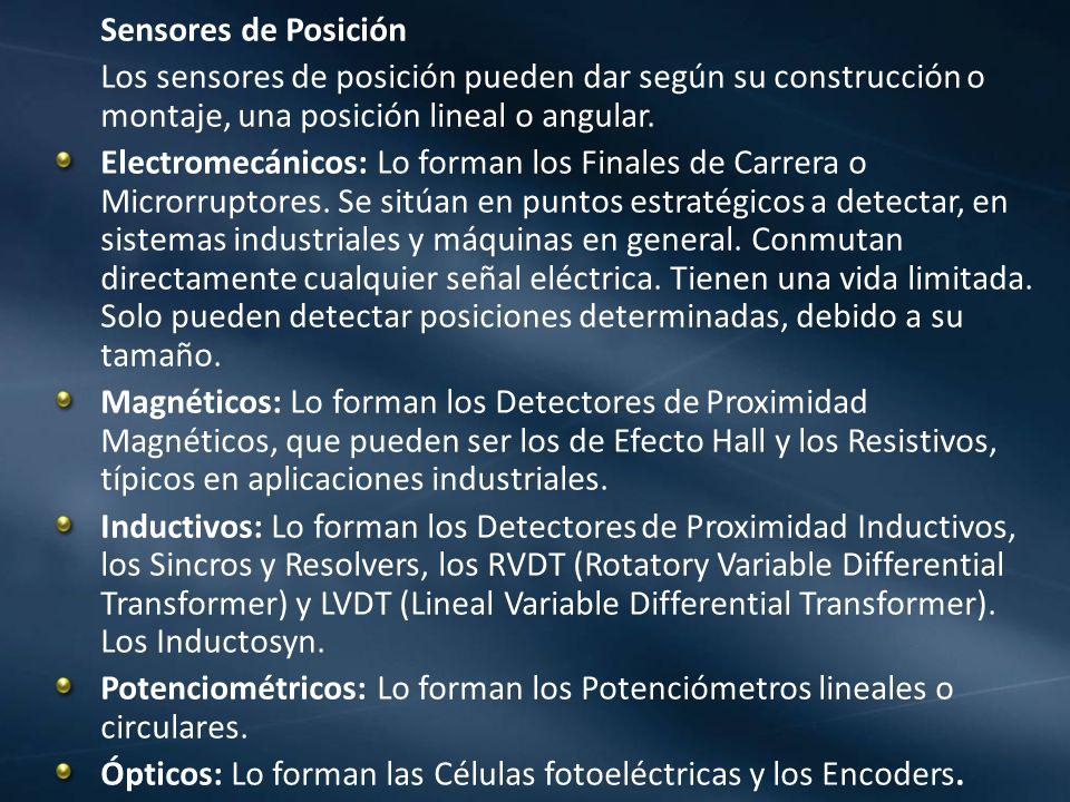 Sensores de PosiciónLos sensores de posición pueden dar según su construcción o montaje, una posición lineal o angular.