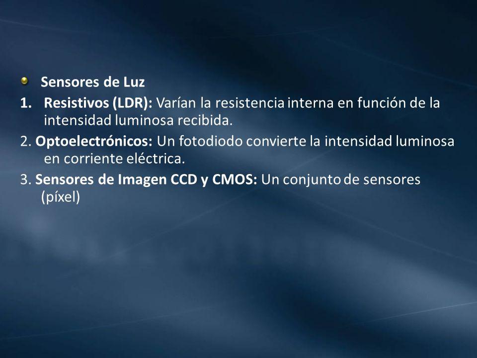 Sensores de Luz Resistivos (LDR): Varían la resistencia interna en función de la intensidad luminosa recibida.