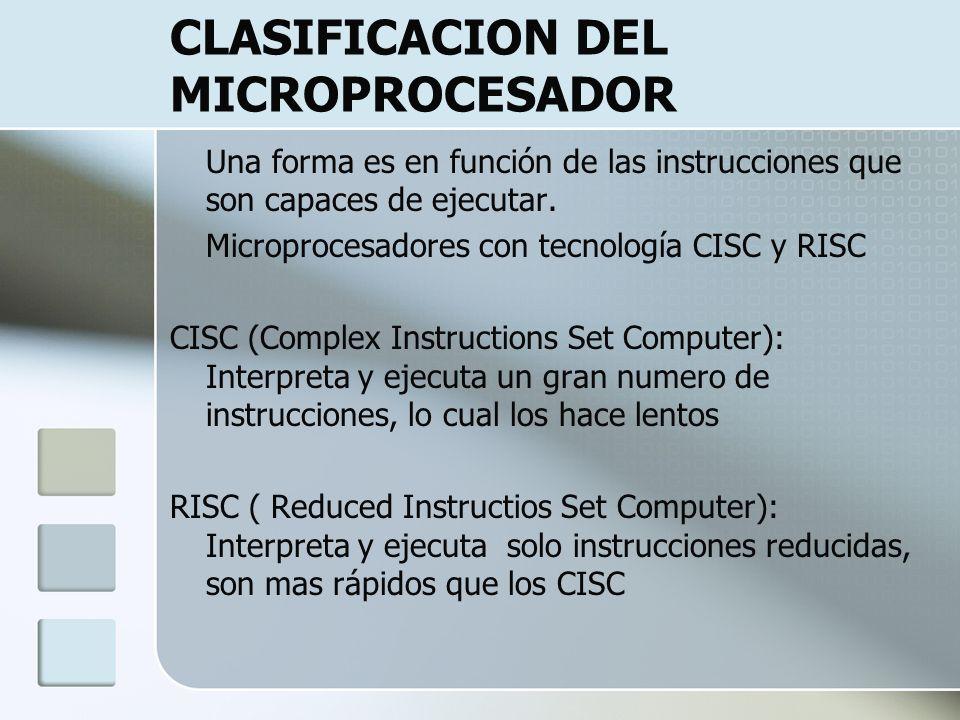 CLASIFICACION DEL MICROPROCESADOR