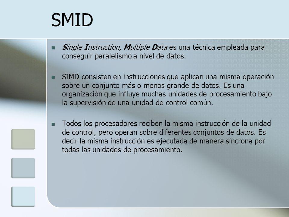 SMID Single Instruction, Multiple Data es una técnica empleada para conseguir paralelismo a nivel de datos.