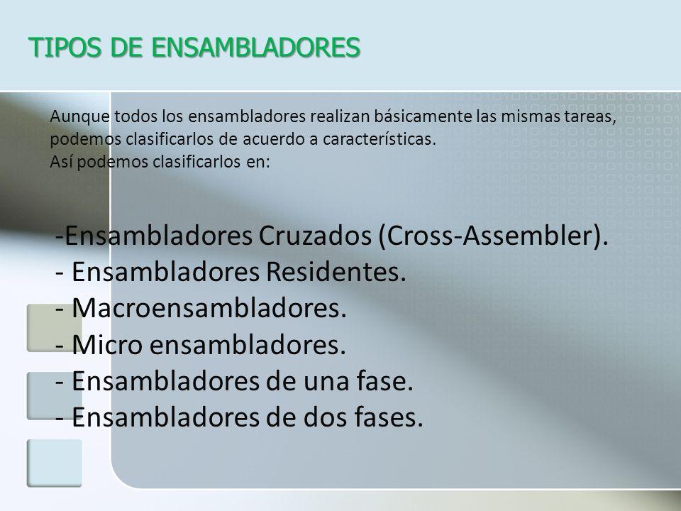 -Ensambladores Cruzados (Cross-Assembler). - Ensambladores Residentes.