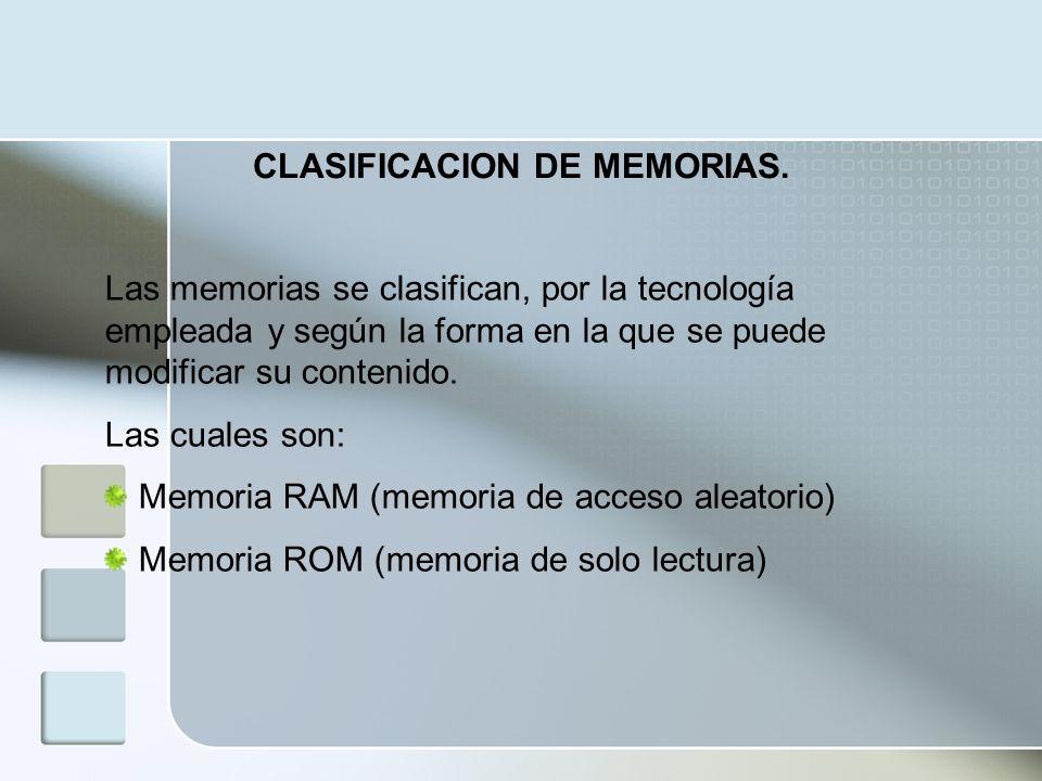 CLASIFICACION DE MEMORIAS.