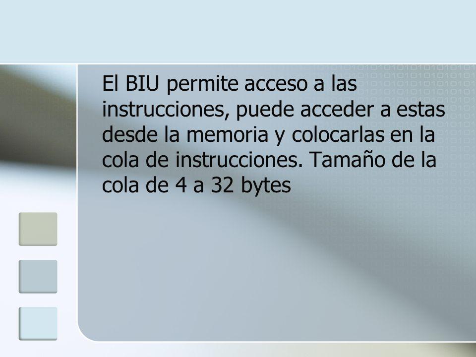 El BIU permite acceso a las instrucciones, puede acceder a estas desde la memoria y colocarlas en la cola de instrucciones.