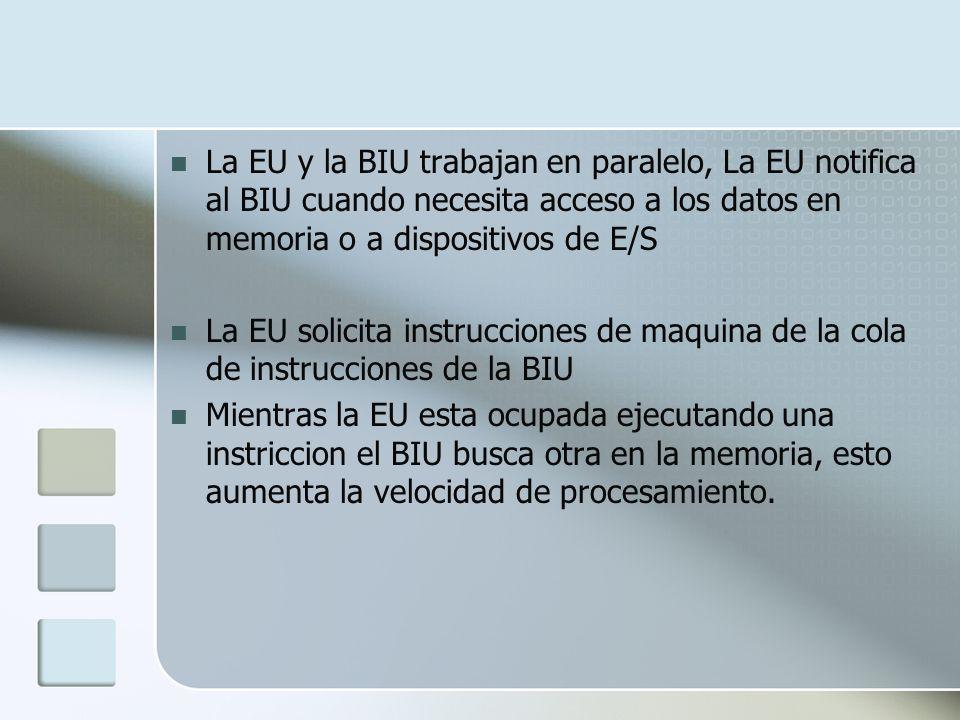 La EU y la BIU trabajan en paralelo, La EU notifica al BIU cuando necesita acceso a los datos en memoria o a dispositivos de E/S