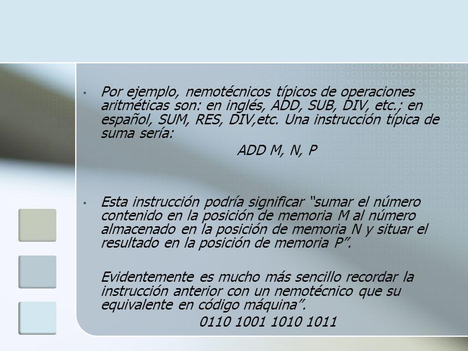 Por ejemplo, nemotécnicos típicos de operaciones aritméticas son: en inglés, ADD, SUB, DIV, etc.; en español, SUM, RES, DIV,etc. Una instrucción típica de suma sería: