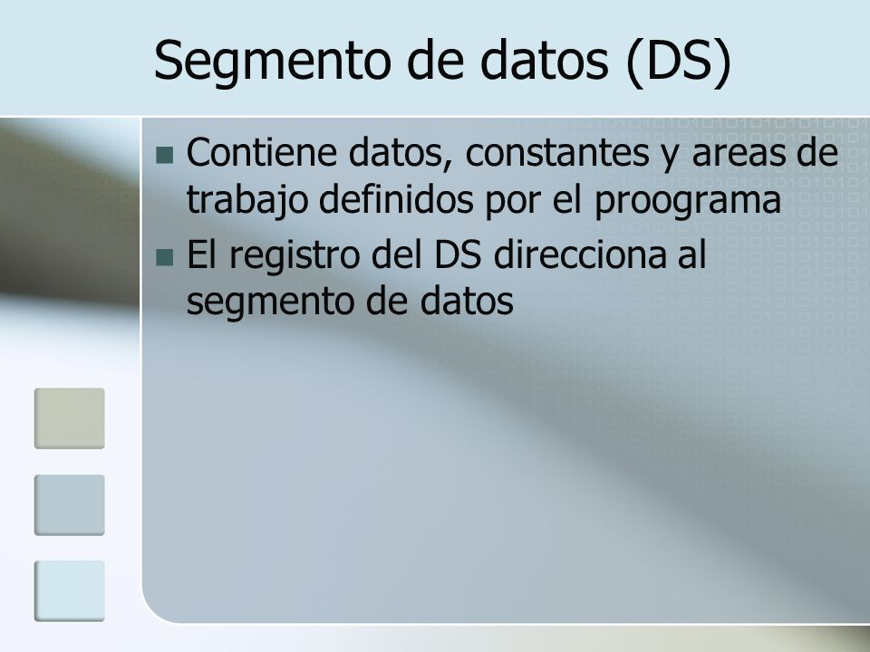 Segmento de datos (DS) Contiene datos, constantes y areas de trabajo definidos por el proograma.