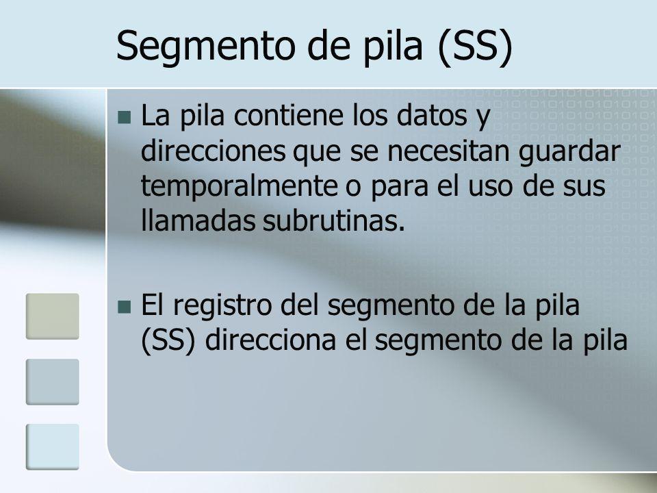 Segmento de pila (SS) La pila contiene los datos y direcciones que se necesitan guardar temporalmente o para el uso de sus llamadas subrutinas.