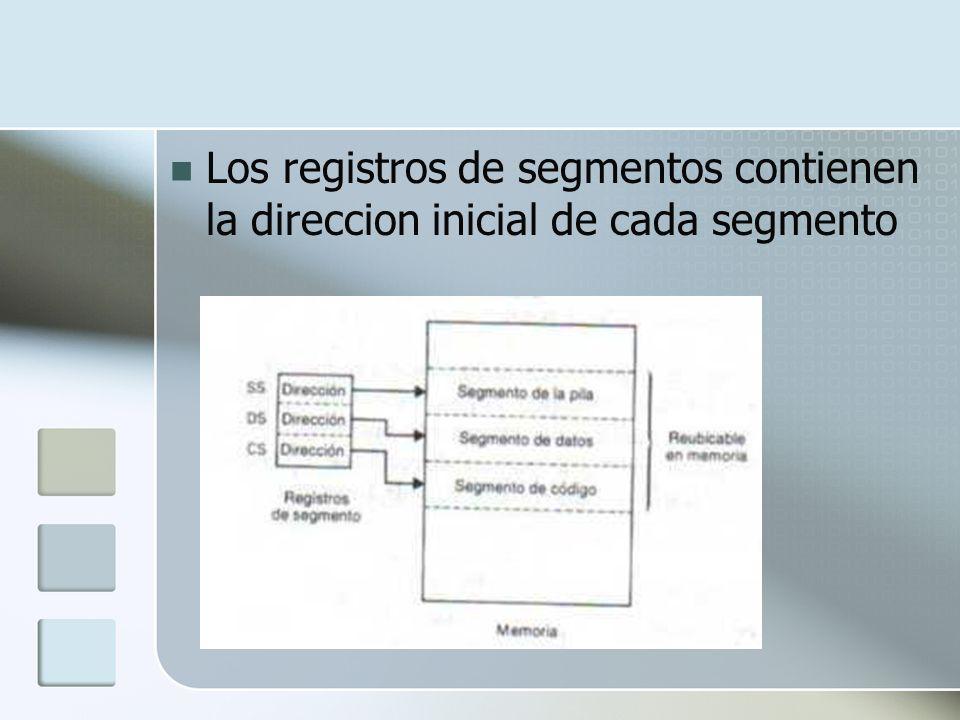 Los registros de segmentos contienen la direccion inicial de cada segmento