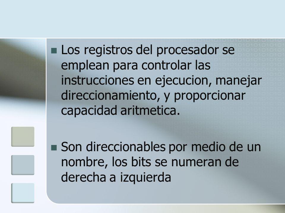 Los registros del procesador se emplean para controlar las instrucciones en ejecucion, manejar direccionamiento, y proporcionar capacidad aritmetica.
