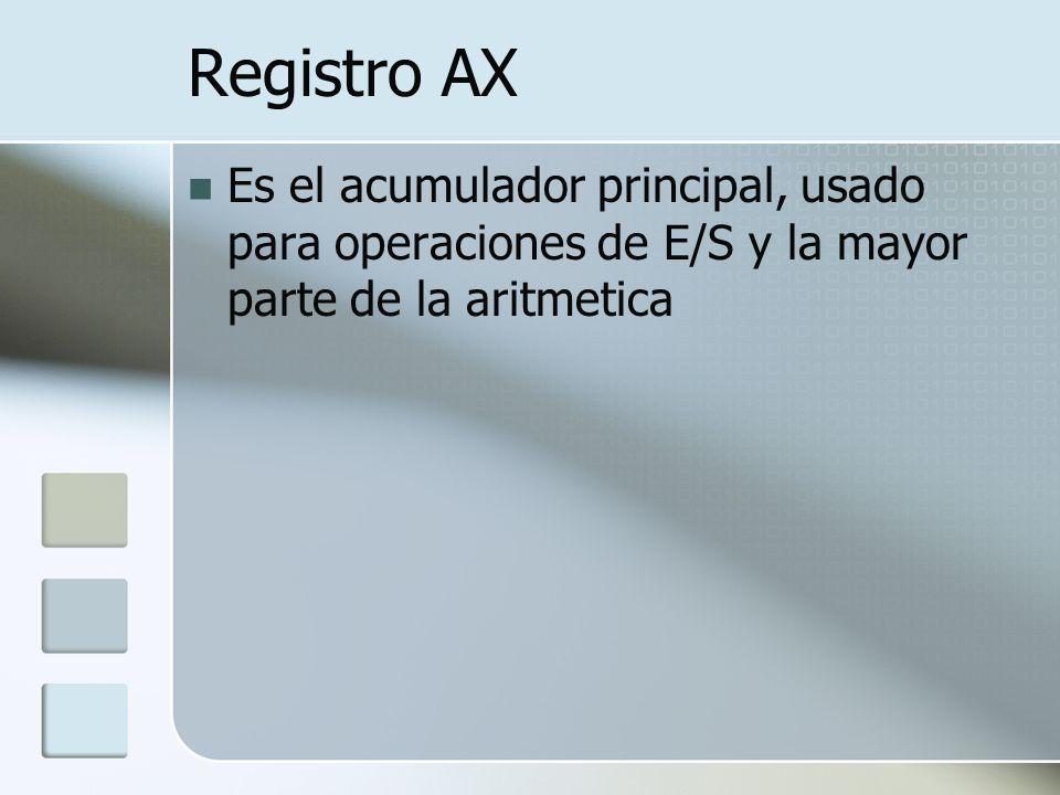 Registro AX Es el acumulador principal, usado para operaciones de E/S y la mayor parte de la aritmetica.