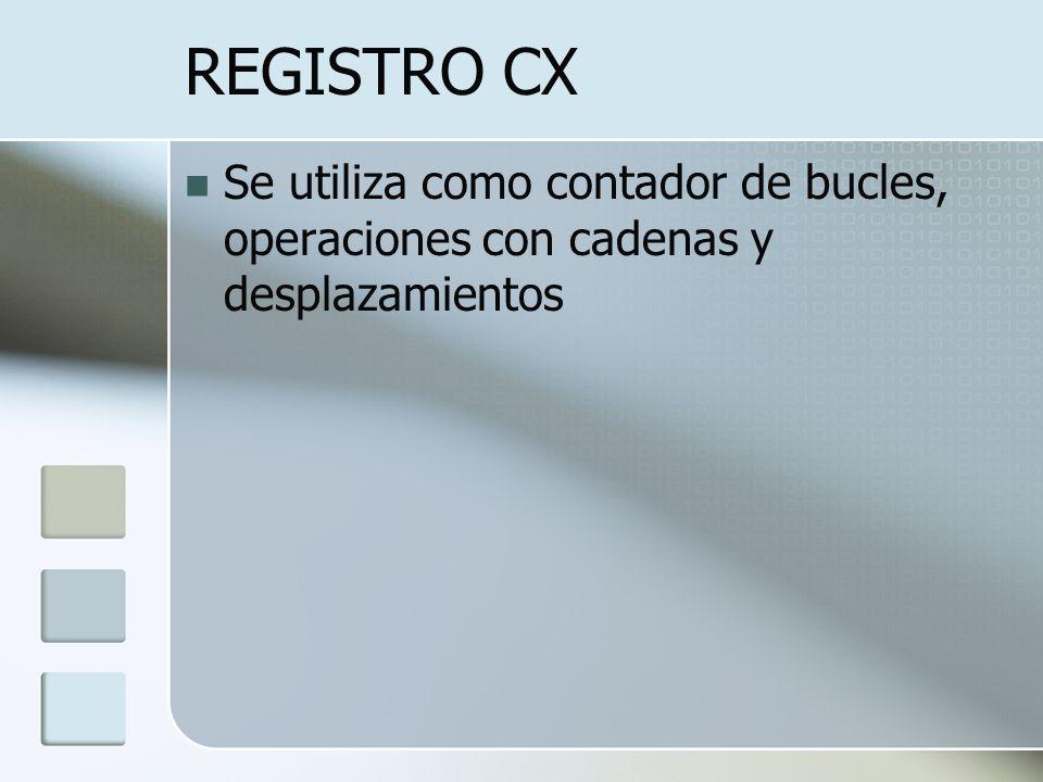 REGISTRO CX Se utiliza como contador de bucles, operaciones con cadenas y desplazamientos