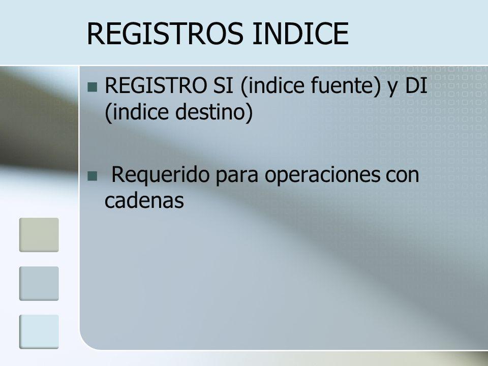REGISTROS INDICE REGISTRO SI (indice fuente) y DI (indice destino)