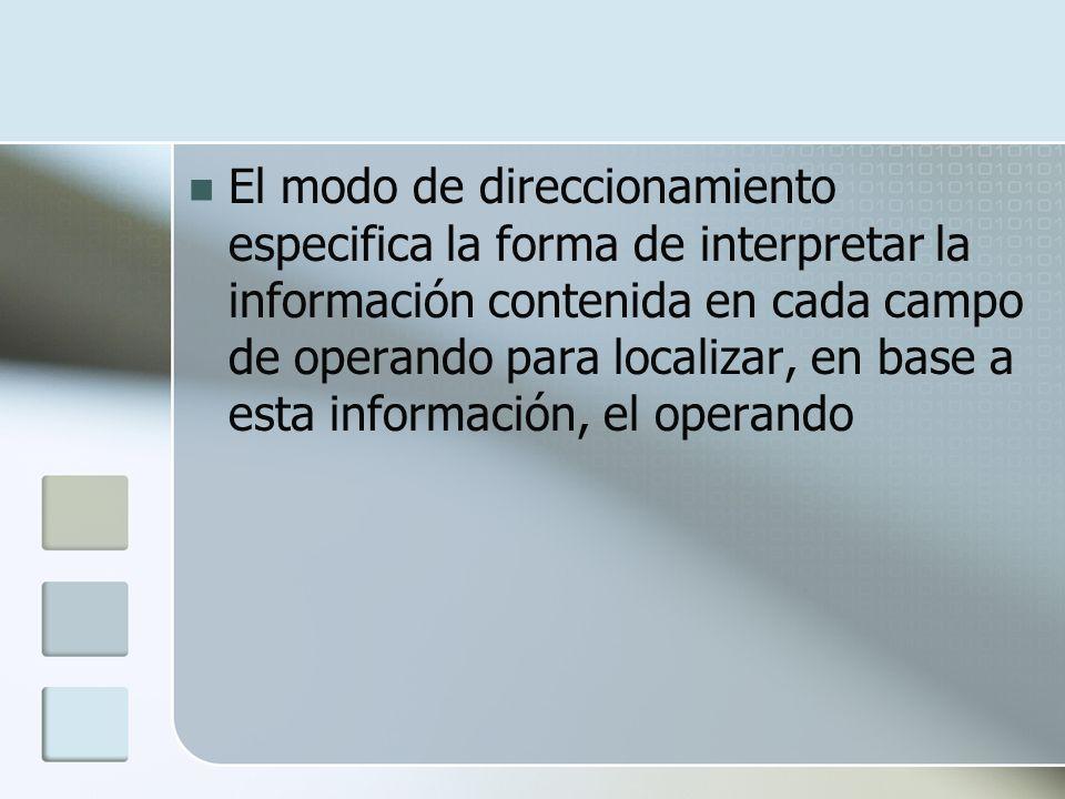 El modo de direccionamiento especifica la forma de interpretar la información contenida en cada campo de operando para localizar, en base a esta información, el operando