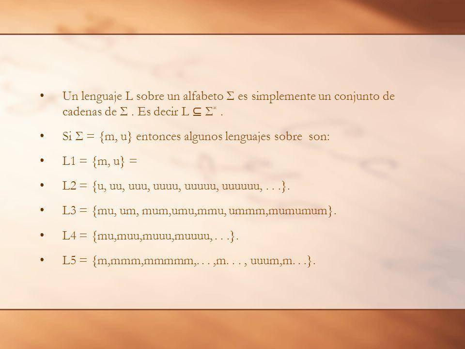Un lenguaje L sobre un alfabeto Σ es simplemente un conjunto de cadenas de Σ . Es decir L ⊆ Σ* .