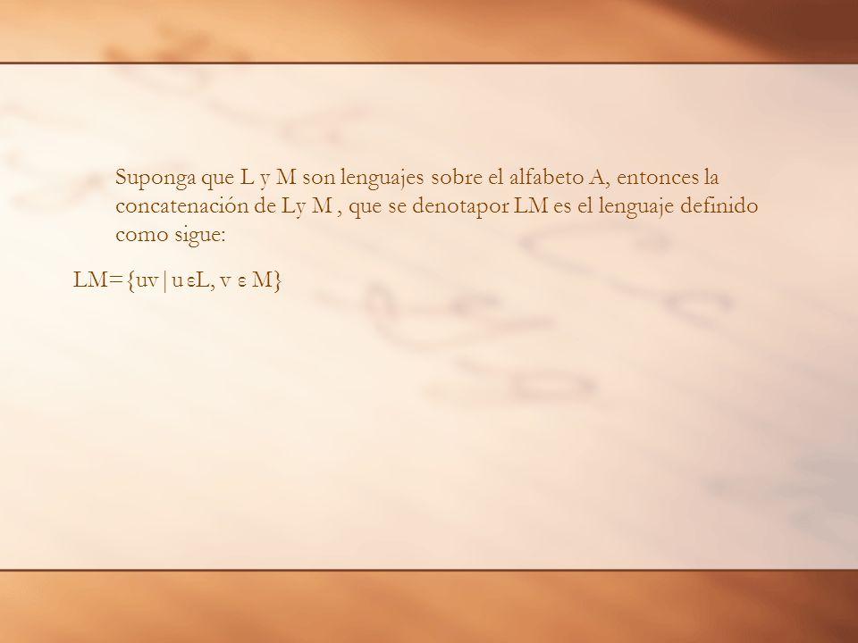 Suponga que L y M son lenguajes sobre el alfabeto A, entonces la concatenación de Ly M , que se denotapor LM es el lenguaje definido como sigue: LM={uv|u εL, v ε M}