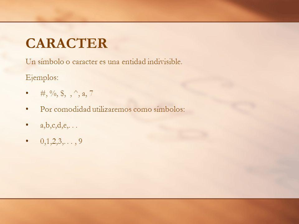 CARACTER Un símbolo o caracter es una entidad indivisible. Ejemplos: