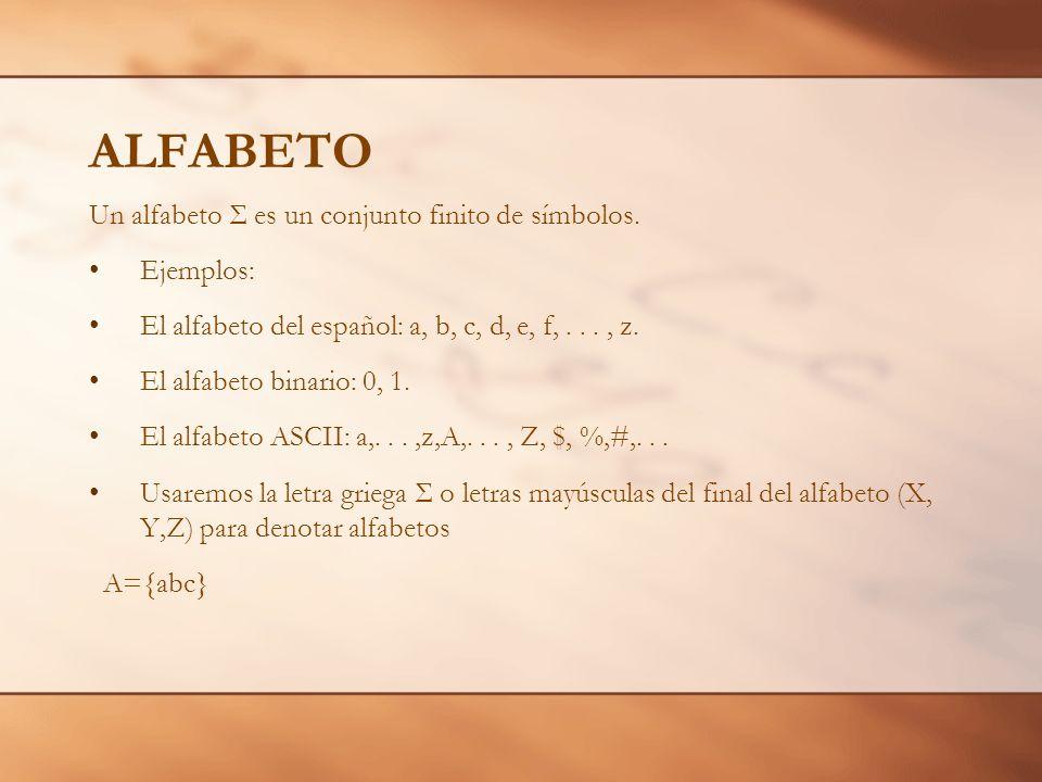 ALFABETO Un alfabeto Σ es un conjunto finito de símbolos. Ejemplos: