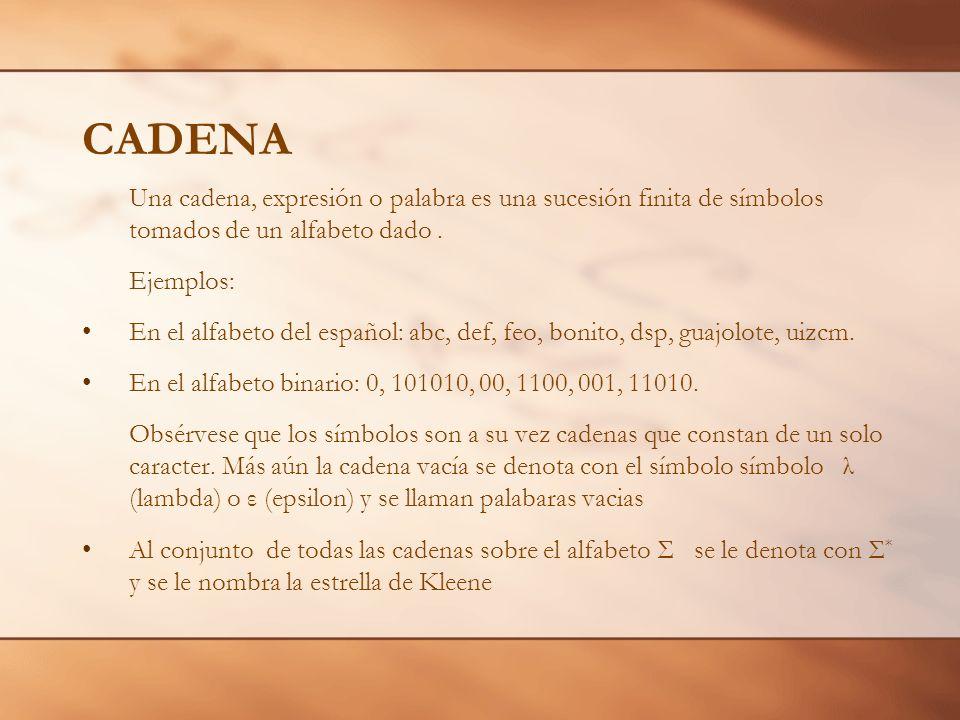 CADENA Una cadena, expresión o palabra es una sucesión finita de símbolos tomados de un alfabeto dado .