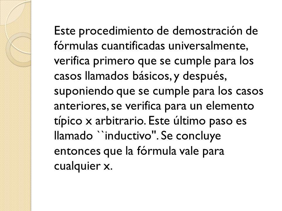 Este procedimiento de demostración de fórmulas cuantificadas universalmente, verifica primero que se cumple para los casos llamados básicos, y después, suponiendo que se cumple para los casos anteriores, se verifica para un elemento típico x arbitrario.