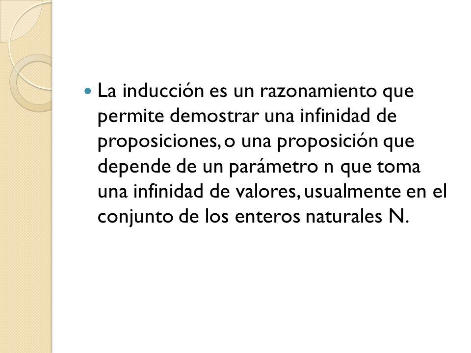 La inducción es un razonamiento que permite demostrar una infinidad de proposiciones, o una proposición que depende de un parámetro n que toma una infinidad de valores, usualmente en el conjunto de los enteros naturales N.