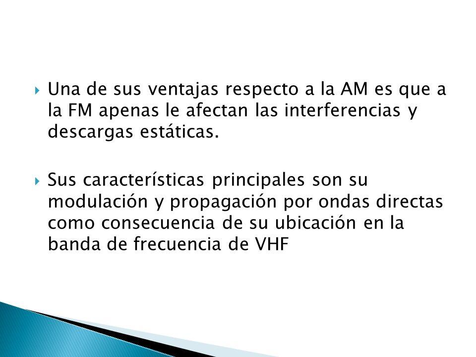 Una de sus ventajas respecto a la AM es que a la FM apenas le afectan las interferencias y descargas estáticas.