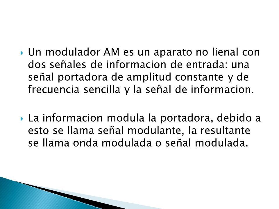 Un modulador AM es un aparato no lienal con dos señales de informacion de entrada: una señal portadora de amplitud constante y de frecuencia sencilla y la señal de informacion.