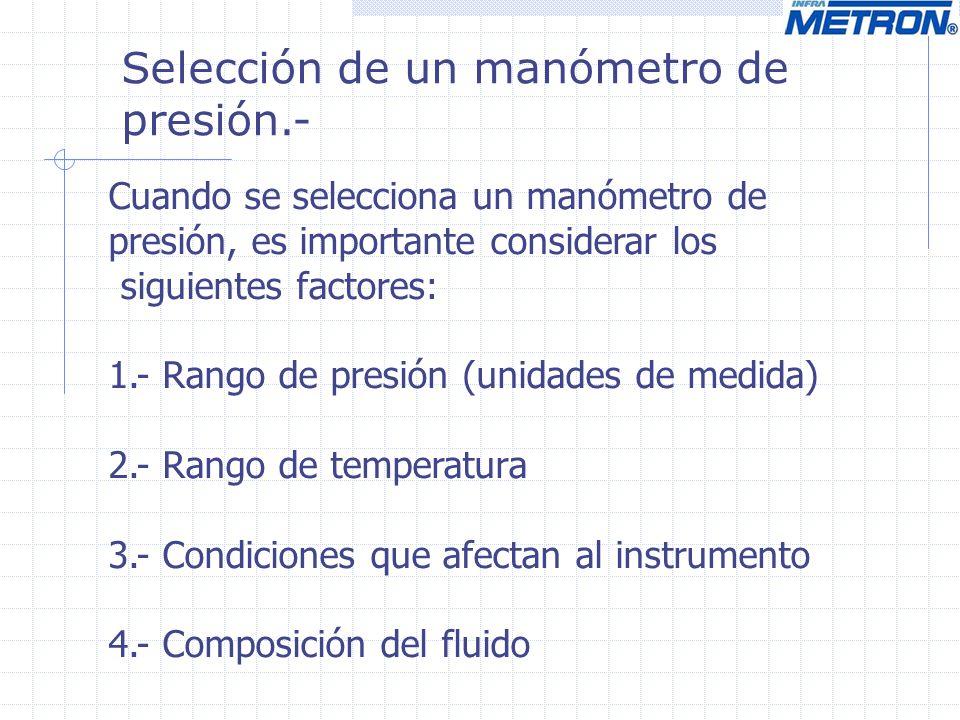 Selección de un manómetro de presión.-