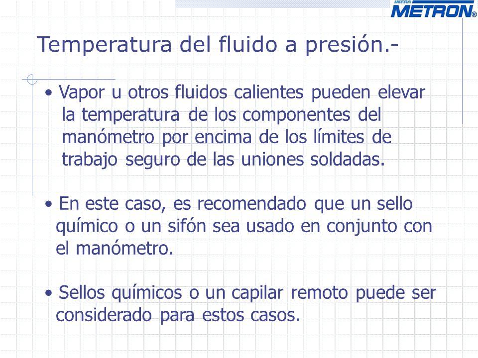 Temperatura del fluido a presión.-