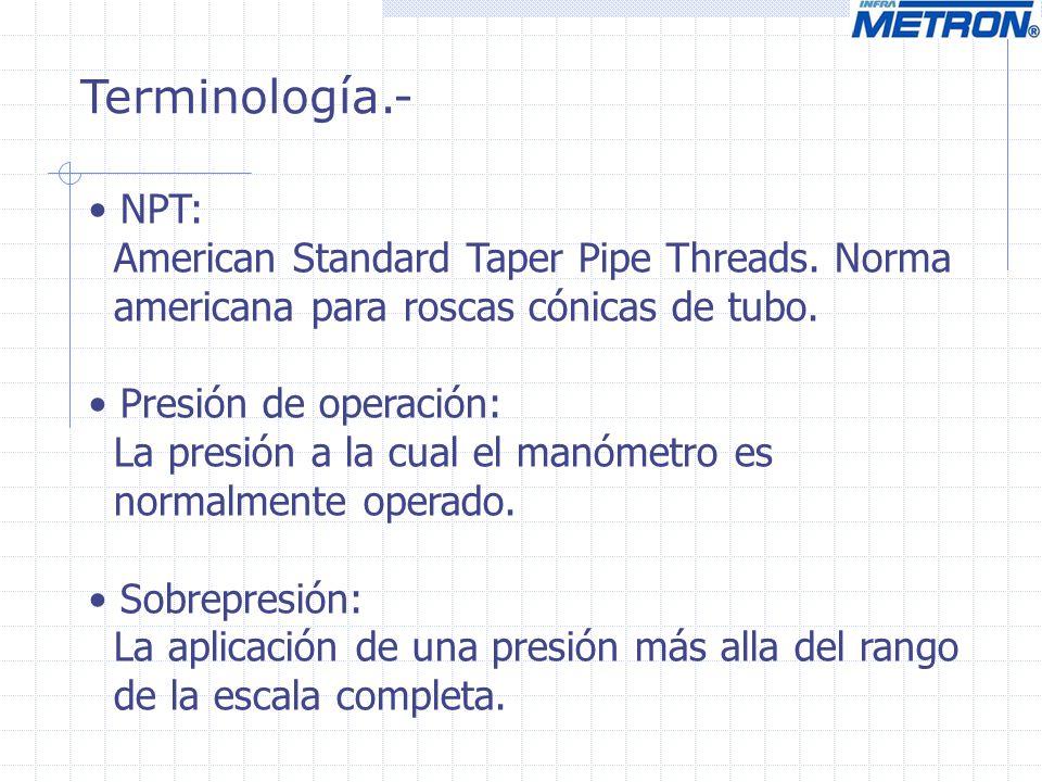Terminología.- NPT: American Standard Taper Pipe Threads. Norma
