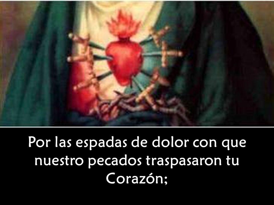 Por las espadas de dolor con que nuestro pecados traspasaron tu Corazón;