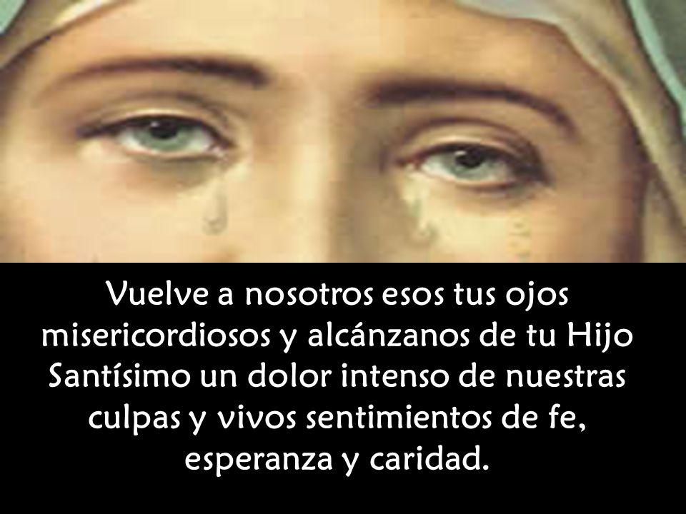 Vuelve a nosotros esos tus ojos misericordiosos y alcánzanos de tu Hijo Santísimo un dolor intenso de nuestras culpas y vivos sentimientos de fe, esperanza y caridad.