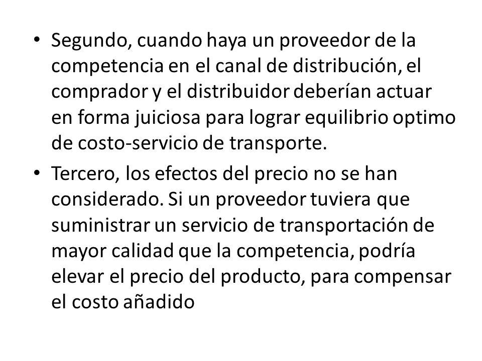 Segundo, cuando haya un proveedor de la competencia en el canal de distribución, el comprador y el distribuidor deberían actuar en forma juiciosa para lograr equilibrio optimo de costo-servicio de transporte.