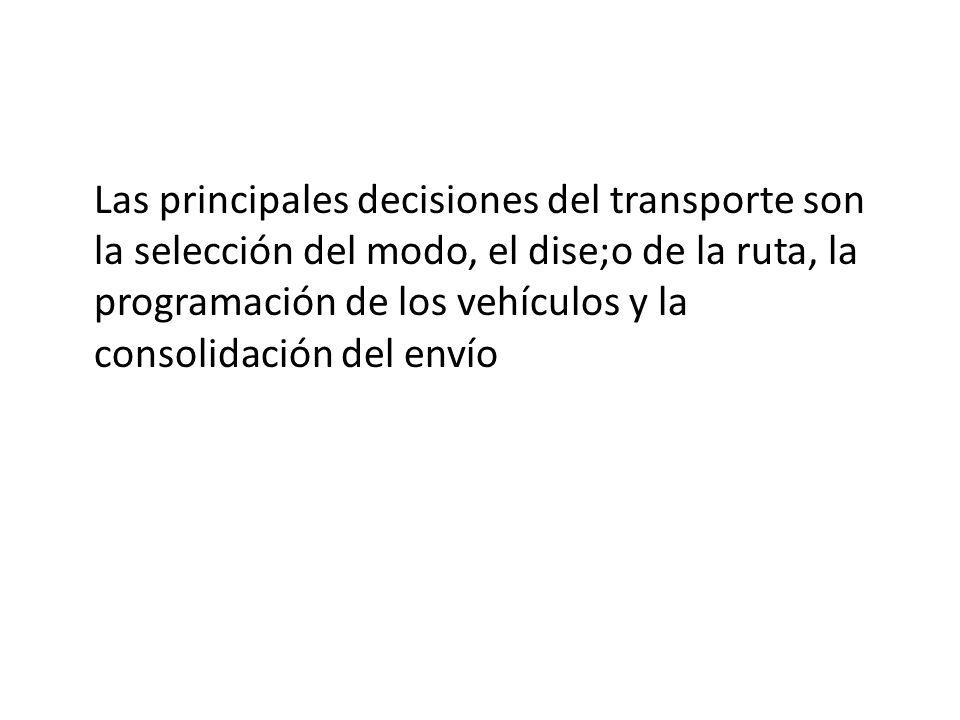 Las principales decisiones del transporte son la selección del modo, el dise;o de la ruta, la programación de los vehículos y la consolidación del envío