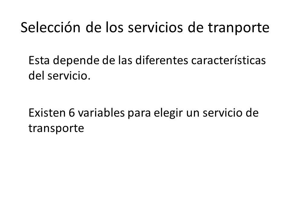 Selección de los servicios de tranporte