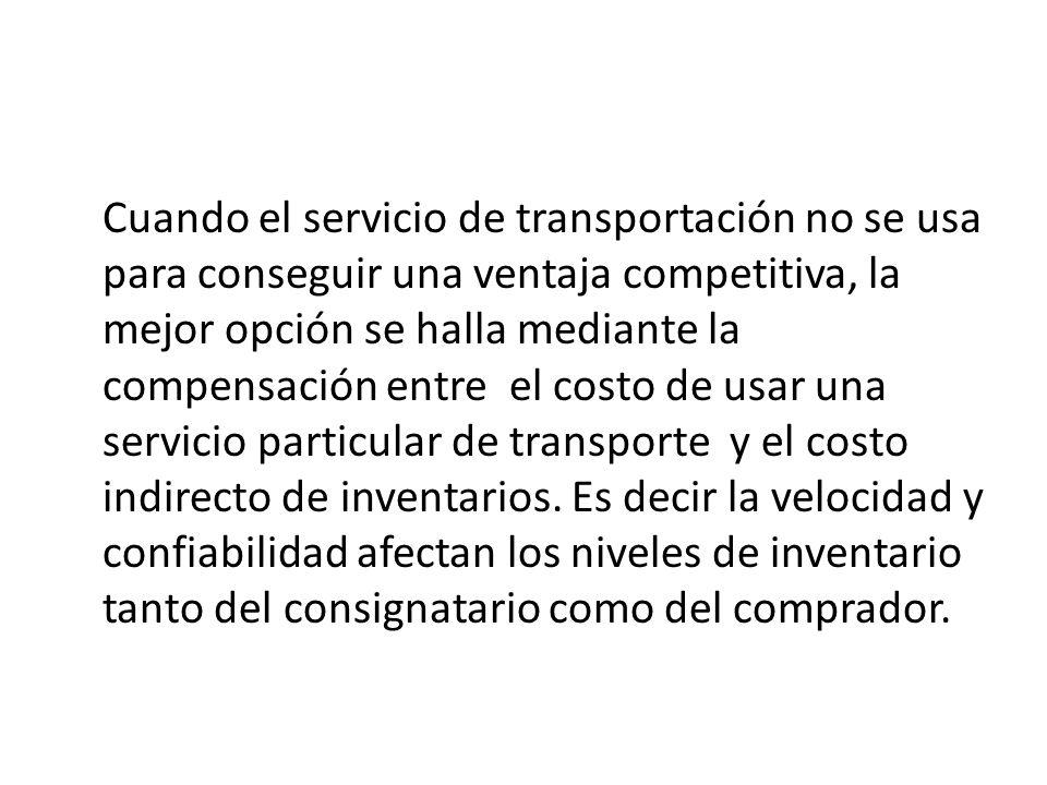 Cuando el servicio de transportación no se usa para conseguir una ventaja competitiva, la mejor opción se halla mediante la compensación entre el costo de usar una servicio particular de transporte y el costo indirecto de inventarios.