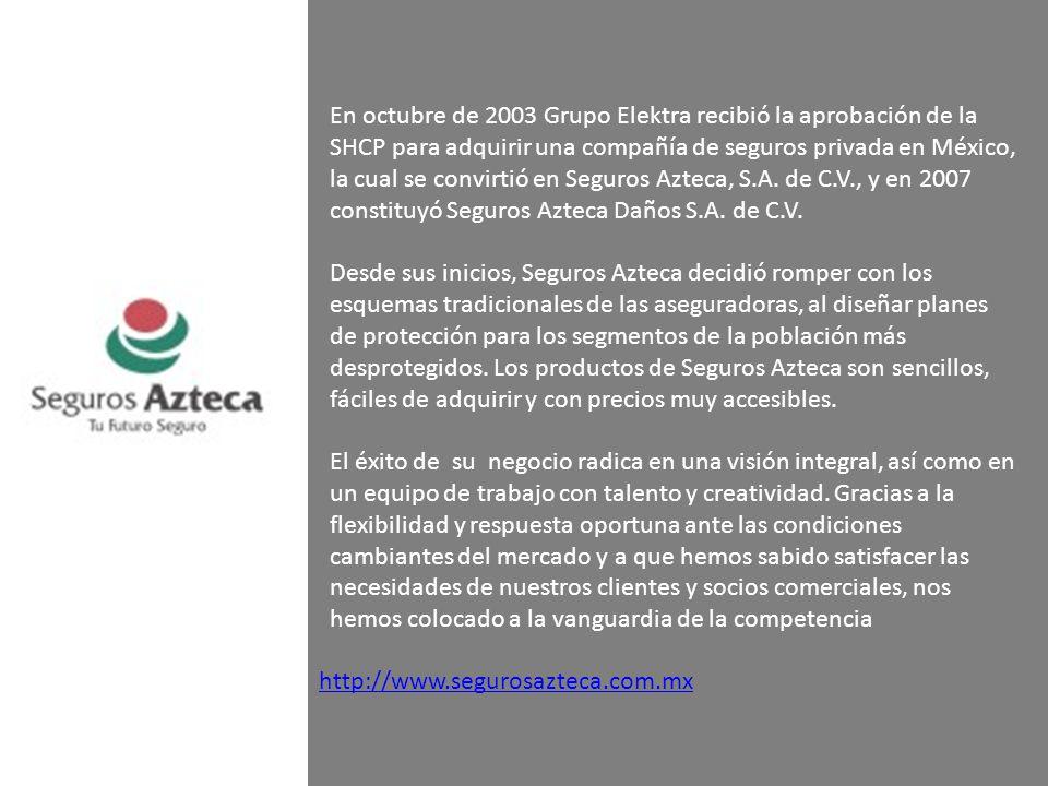 En octubre de 2003 Grupo Elektra recibió la aprobación de la SHCP para adquirir una compañía de seguros privada en México, la cual se convirtió en Seguros Azteca, S.A. de C.V., y en 2007 constituyó Seguros Azteca Daños S.A. de C.V.