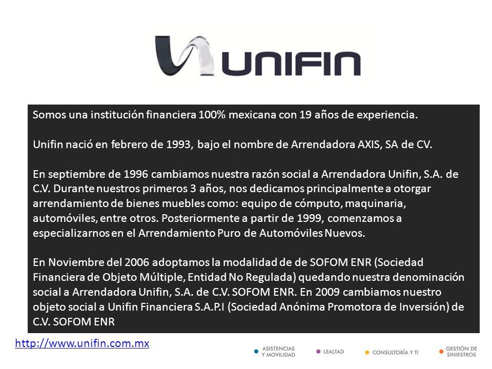 Somos una institución financiera 100% mexicana con 19 años de experiencia. Unifin nació en febrero de 1993, bajo el nombre de Arrendadora AXIS, SA de CV. En septiembre de 1996 cambiamos nuestra razón social a Arrendadora Unifin, S.A. de C.V. Durante nuestros primeros 3 años, nos dedicamos principalmente a otorgar arrendamiento de bienes muebles como: equipo de cómputo, maquinaria, automóviles, entre otros. Posteriormente a partir de 1999, comenzamos a especializarnos en el Arrendamiento Puro de Automóviles Nuevos. En Noviembre del 2006 adoptamos la modalidad de de SOFOM ENR (Sociedad Financiera de Objeto Múltiple, Entidad No Regulada) quedando nuestra denominación social a Arrendadora Unifin, S.A. de C.V. SOFOM ENR. En 2009 cambiamos nuestro objeto social a Unifin Financiera S.A.P.I (Sociedad Anónima Promotora de Inversión) de C.V. SOFOM ENR