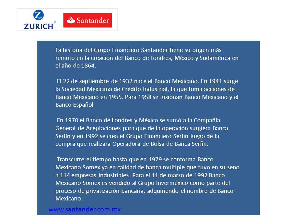La historia del Grupo Financiero Santander tiene su origen más remoto en la creación del Banco de Londres, México y Sudamérica en el año de 1864.