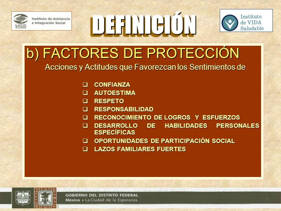 DEFINICIÓN b) FACTORES DE PROTECCIÓN
