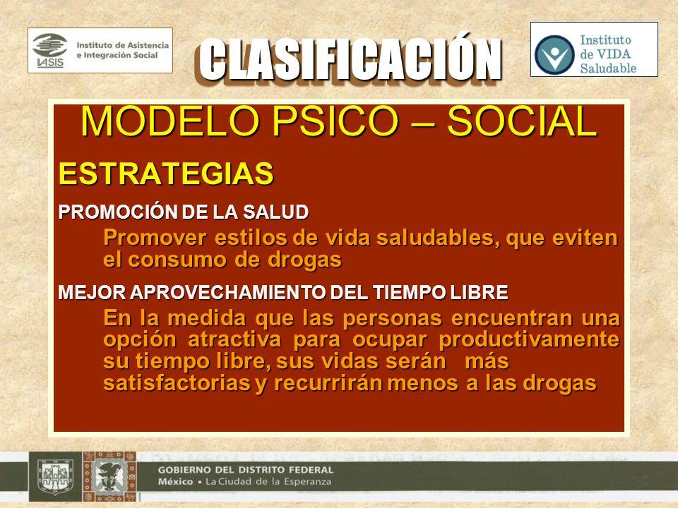 CLASIFICACIÓN MODELO PSICO – SOCIAL ESTRATEGIAS