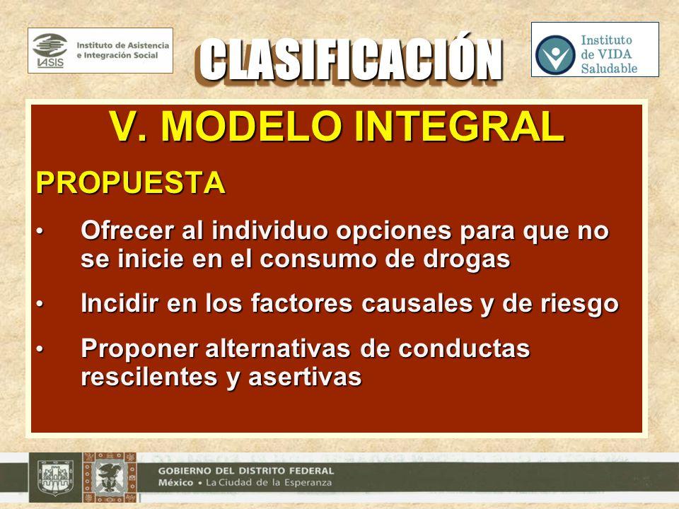 CLASIFICACIÓN V. MODELO INTEGRAL PROPUESTA