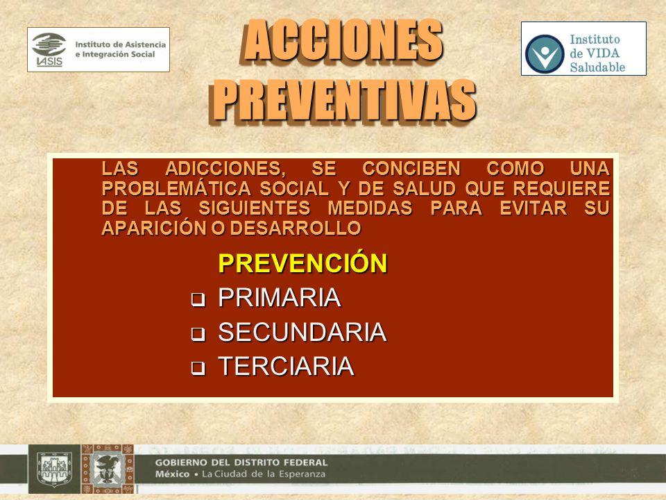 ACCIONES PREVENTIVAS PREVENCIÓN PRIMARIA SECUNDARIA TERCIARIA