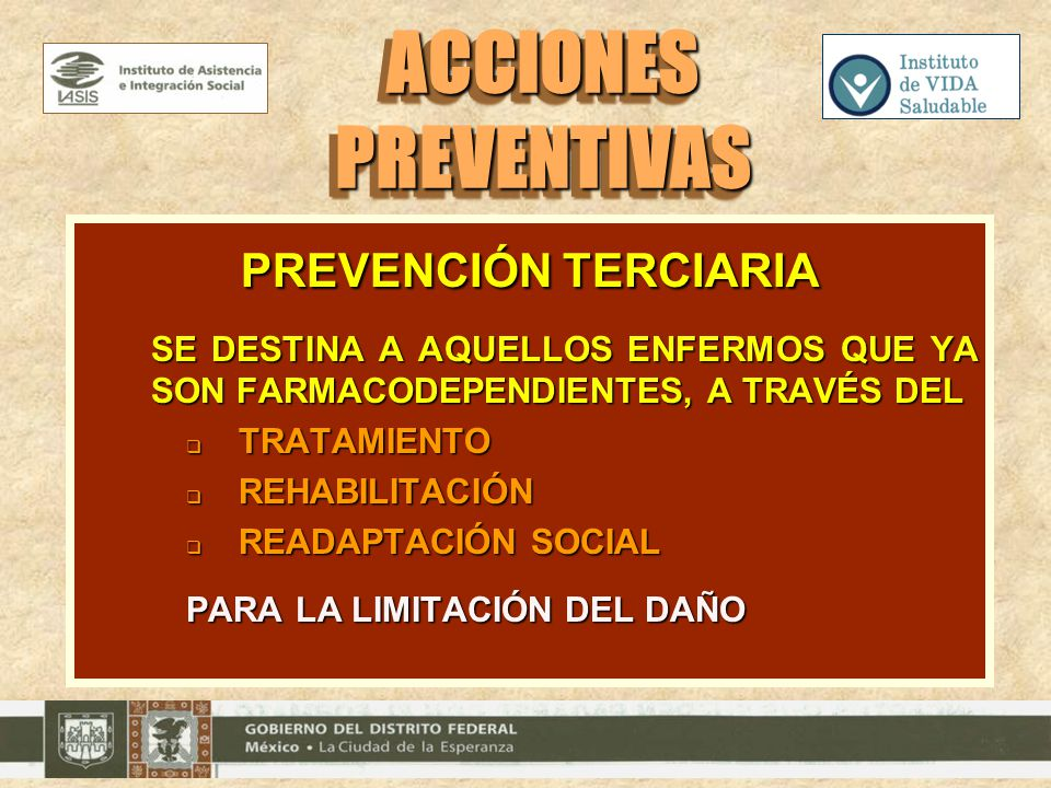 ACCIONES PREVENTIVAS PREVENCIÓN TERCIARIA