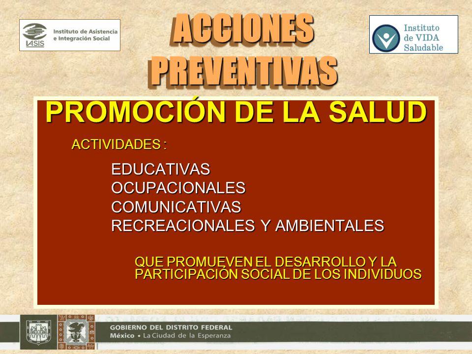 ACCIONES PREVENTIVAS PROMOCIÓN DE LA SALUD OCUPACIONALES COMUNICATIVAS